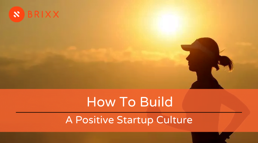 How to build a positive startup culture blog post header image of a woman running in sunset for Brixx financial modelling tool