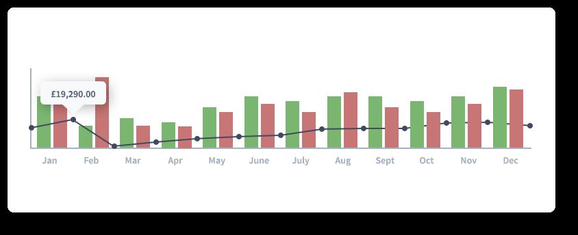 Sample 12 month cash flow forecast chart