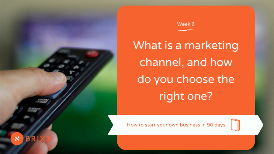 """tv remote pointing at tv, orange cover with text reading """"what is a marketing channel and how do you choose the right one?"""