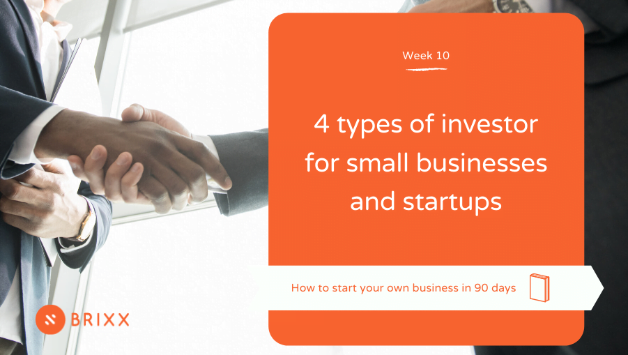 """two people shaking hands, orange block cover with white text reading """"4 types of investor for small businesses and startups"""
