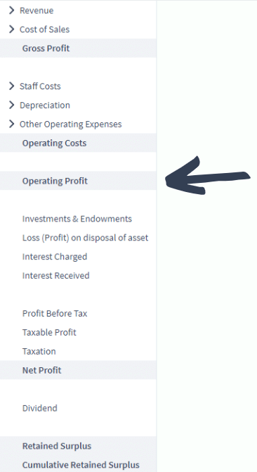 where is operating profit located on the profit and loss