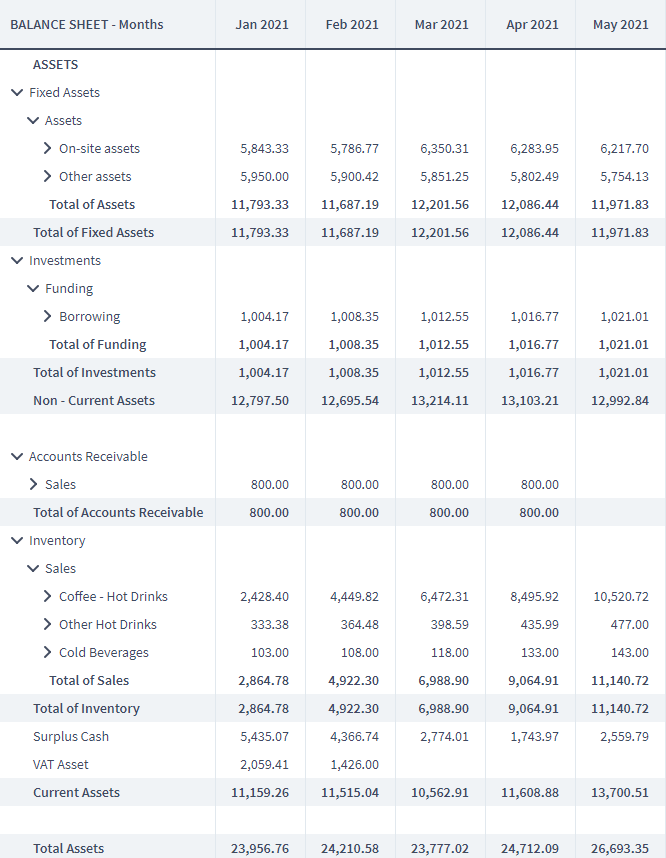 The asset section of the balance sheet