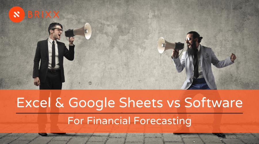 Excel & Google Sheets vs Software blog post header image for financial forecasting