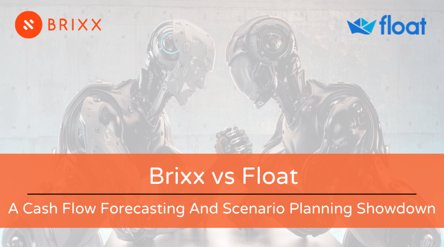 Brixx vs Float - A Cash Flow Forecasting And Scenario Planning Showdown blog post header image of two robots arm wrestling